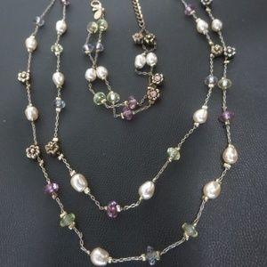 Set Necklace Bracelet Double Strand Dainty Pearl